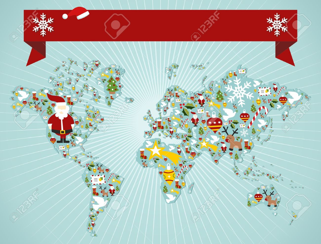 Christmas icon set in globe world map background with blank space banner. Stock Vector - 11647393