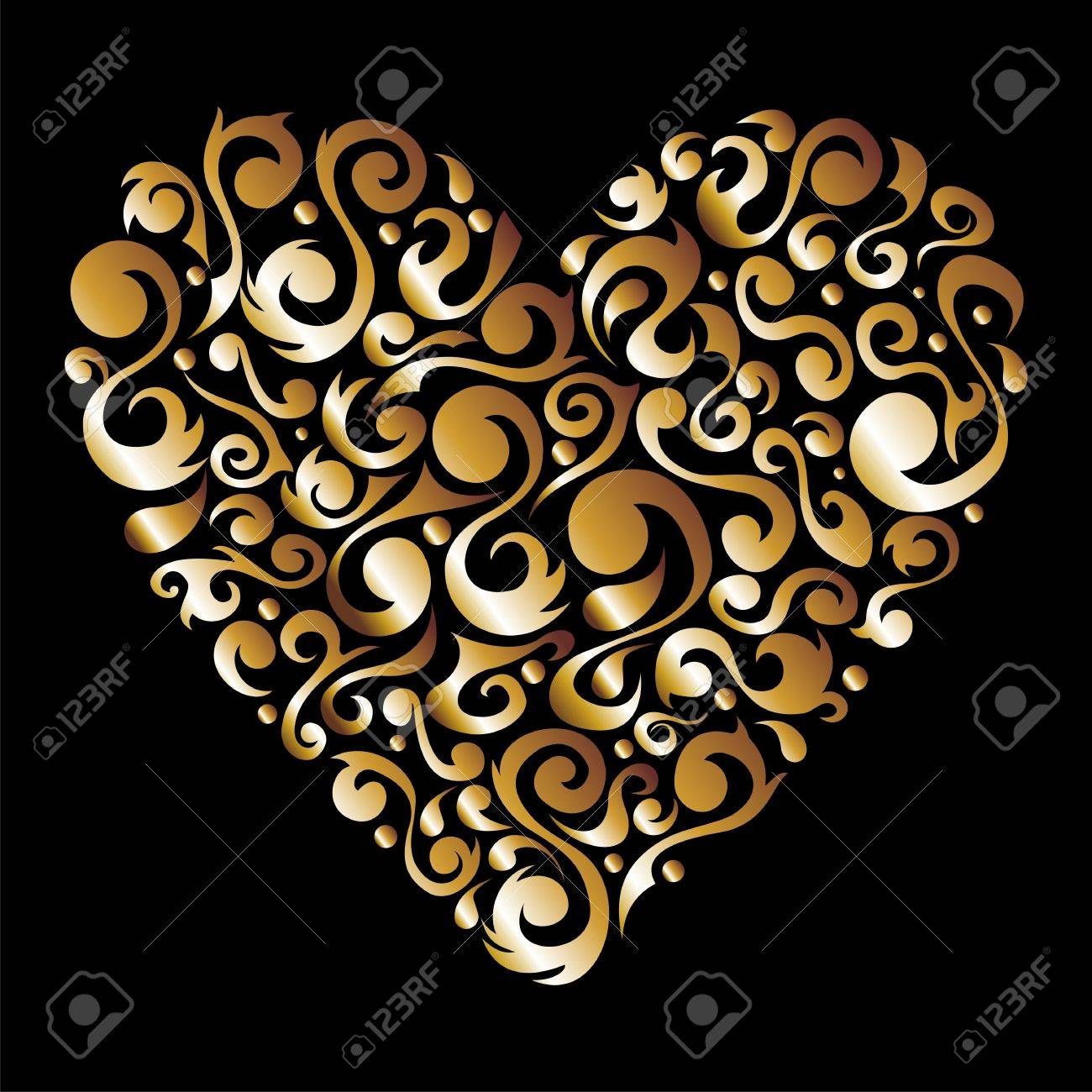Golden love heart with floral design silhouette background.  file available. Stock Vector - 12038173