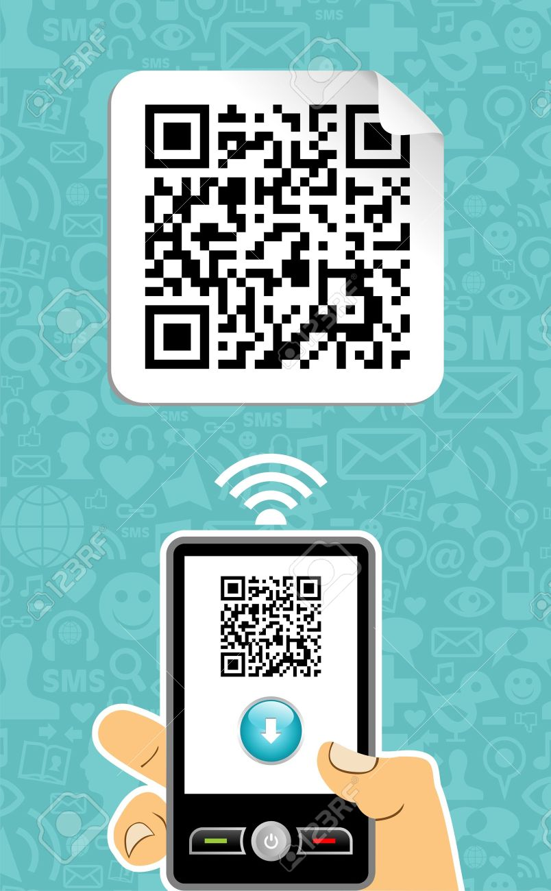 Hand with mobile phone scans the QR code on blue background. Stock Vector - 12855552