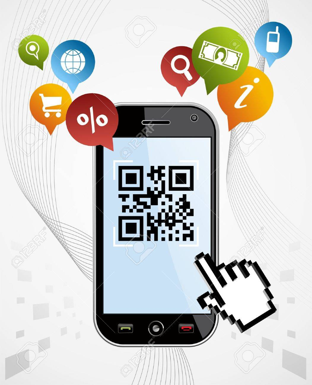 Black smartphone with QR code app on white background  EPS 8 vector, cleanly built with no open shapes or strokes  Grouped and ordered in layers for easy editing Stock Vector - 12855608