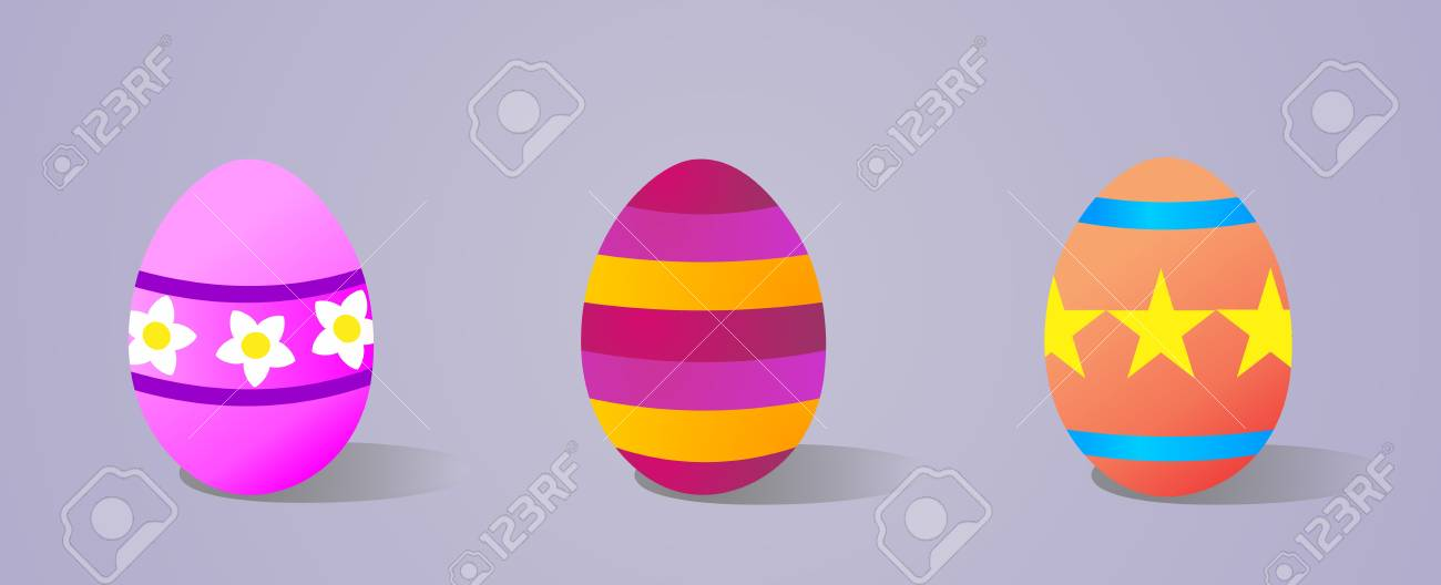 Three decorated eggs for Happy Easter over violet background  Vector file layered for easy manipulation and customisation Stock Vector - 12855616