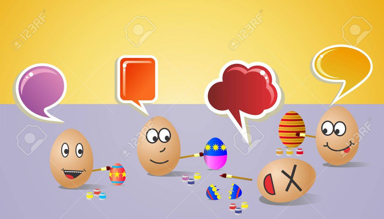 Funny illustration about happy painters eggs for Easter with colorful social dialogue bubble  Vector file layered for easy manipulation and customisation Stock Vector - 12855621