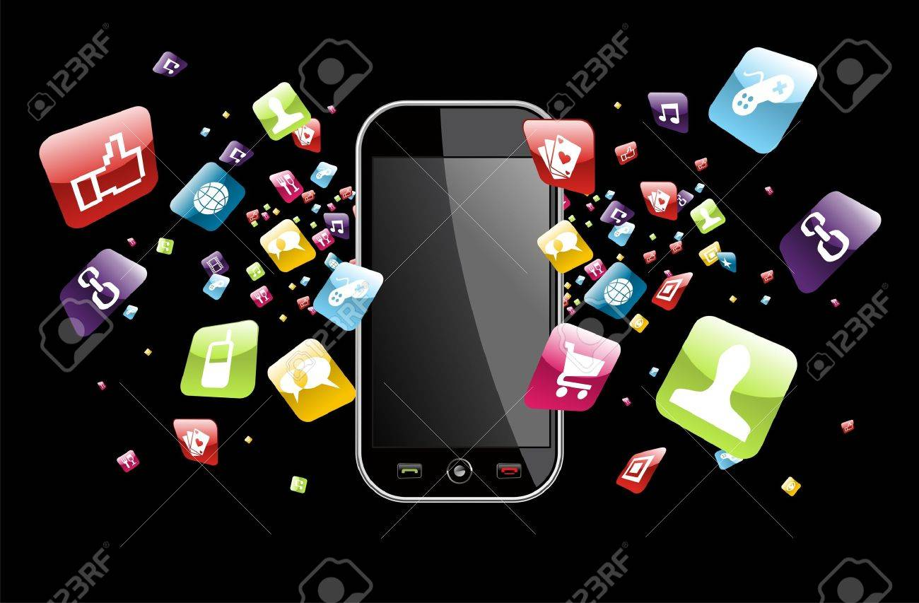 application icons splash out of phone on black background  file layered for easy manipulation and customisation Stock Vector - 13052825