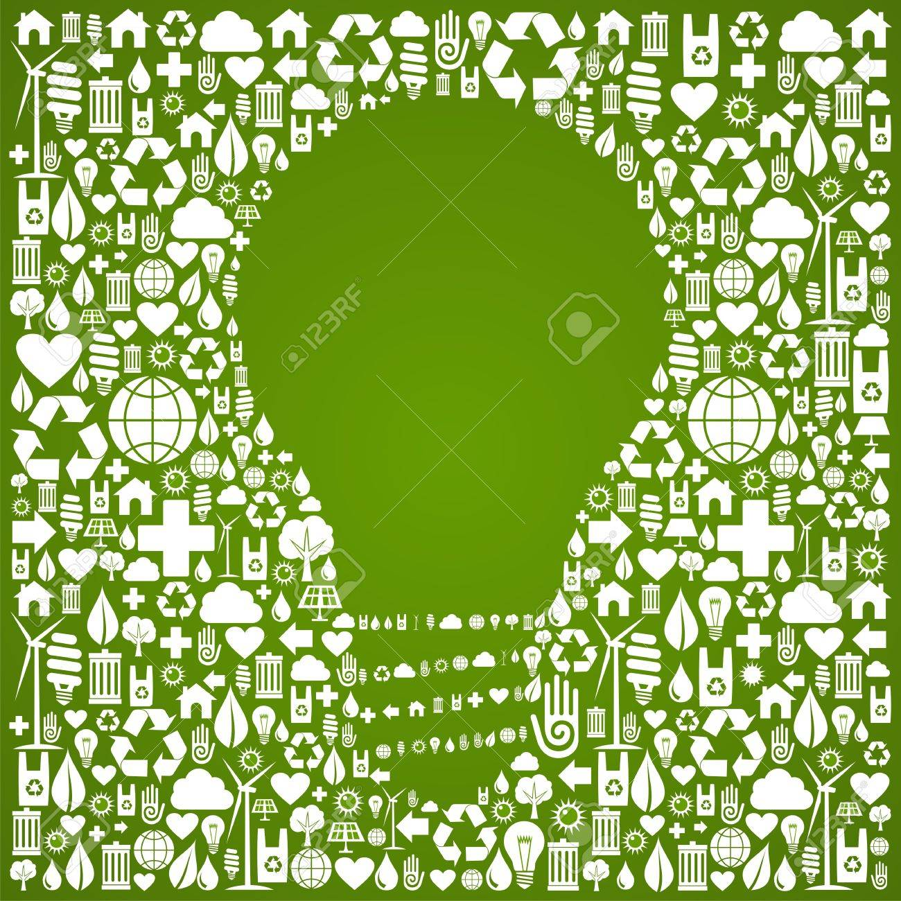 Light bulb symbol over green icons set background  Vector file available Stock Vector - 13237924