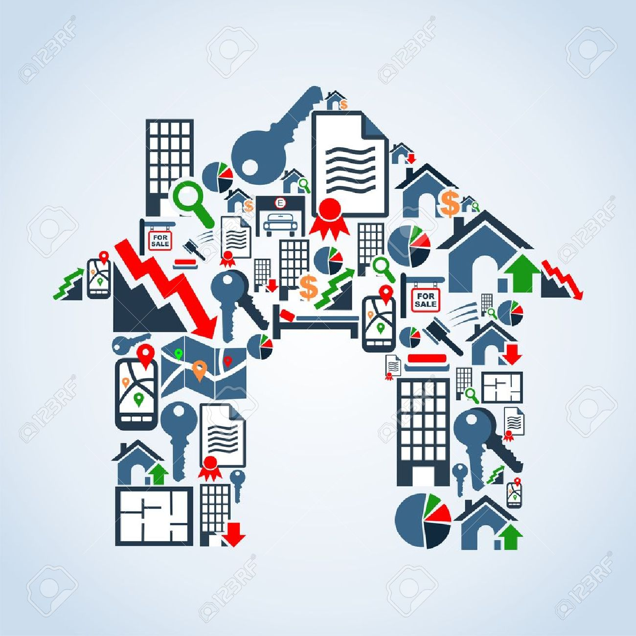 Real estate icon set in house silhouette background illustration file layered for easy manipulation and custom coloring - 13533867
