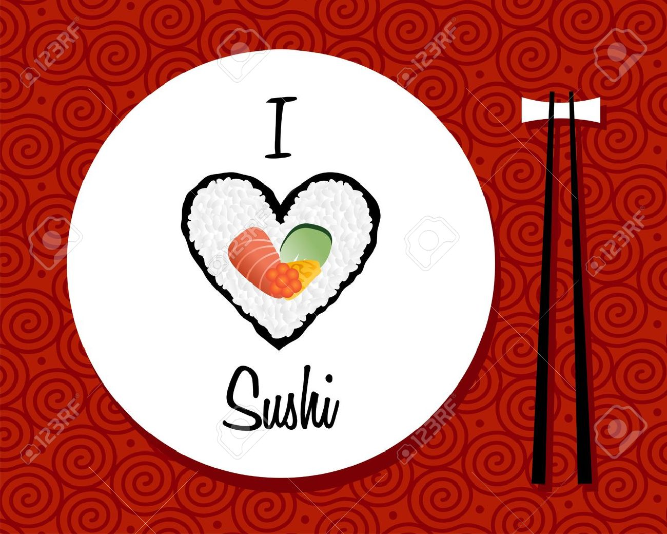 I love sushi handwritten in white dish over red background  file layered for easy manipulation and custom coloring Stock Vector - 13533937