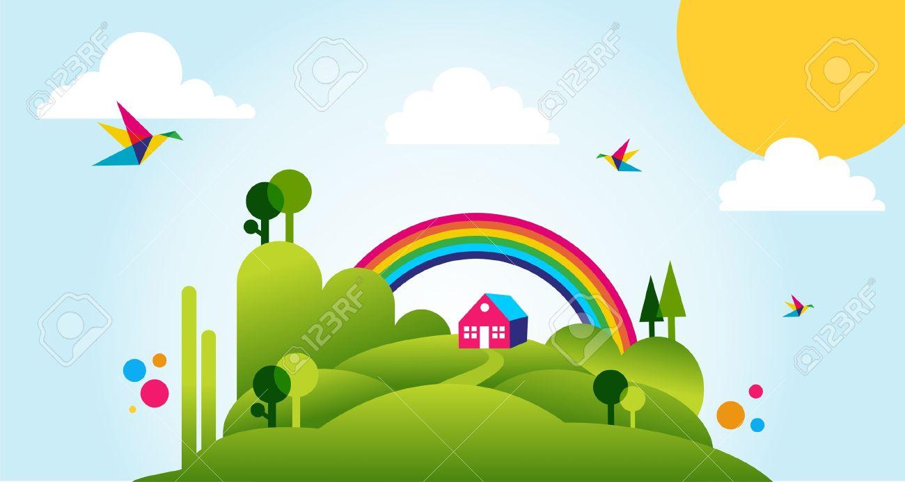 森林、家、虹春時間新鮮なイラスト背景と田舎。 ロイヤリティフリー
