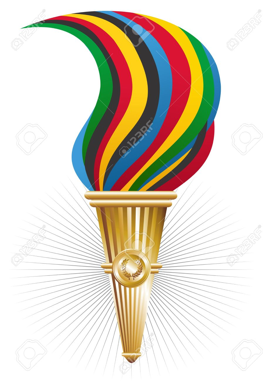 Sports Antorcha Of Triumph With Multicolored Fire Illustration