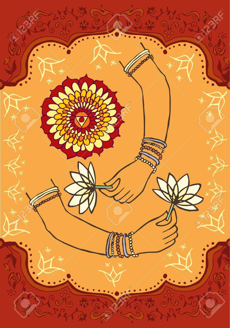woman hand and lotus indian culture background royalty free