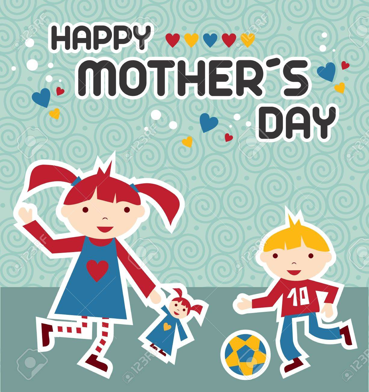 Happy children celebrating Mother's Day on blue background Stock Vector - 13584936