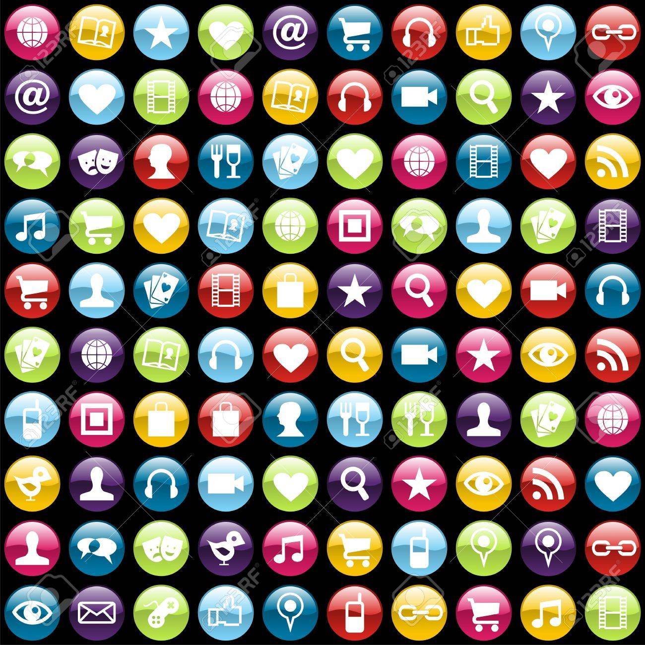 Smartphone app icon set pattern background. file layered for easy manipulation and customisation. Stock Vector - 13903187