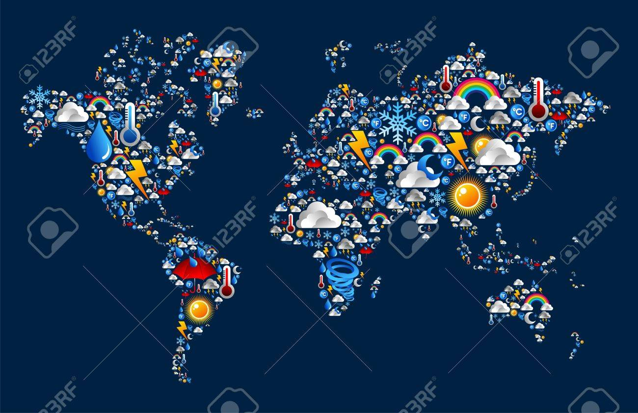 Set weather icons in earth world map over blue background royalty set weather icons in earth world map over blue background stock vector 13903221 gumiabroncs Image collections