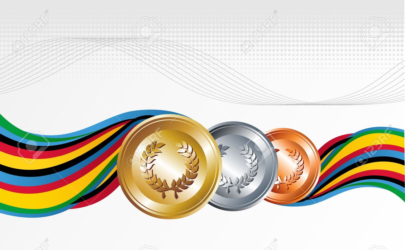 sport gold silver and bronze medal with ribbons background rh 123rf com background vectors free background vector images