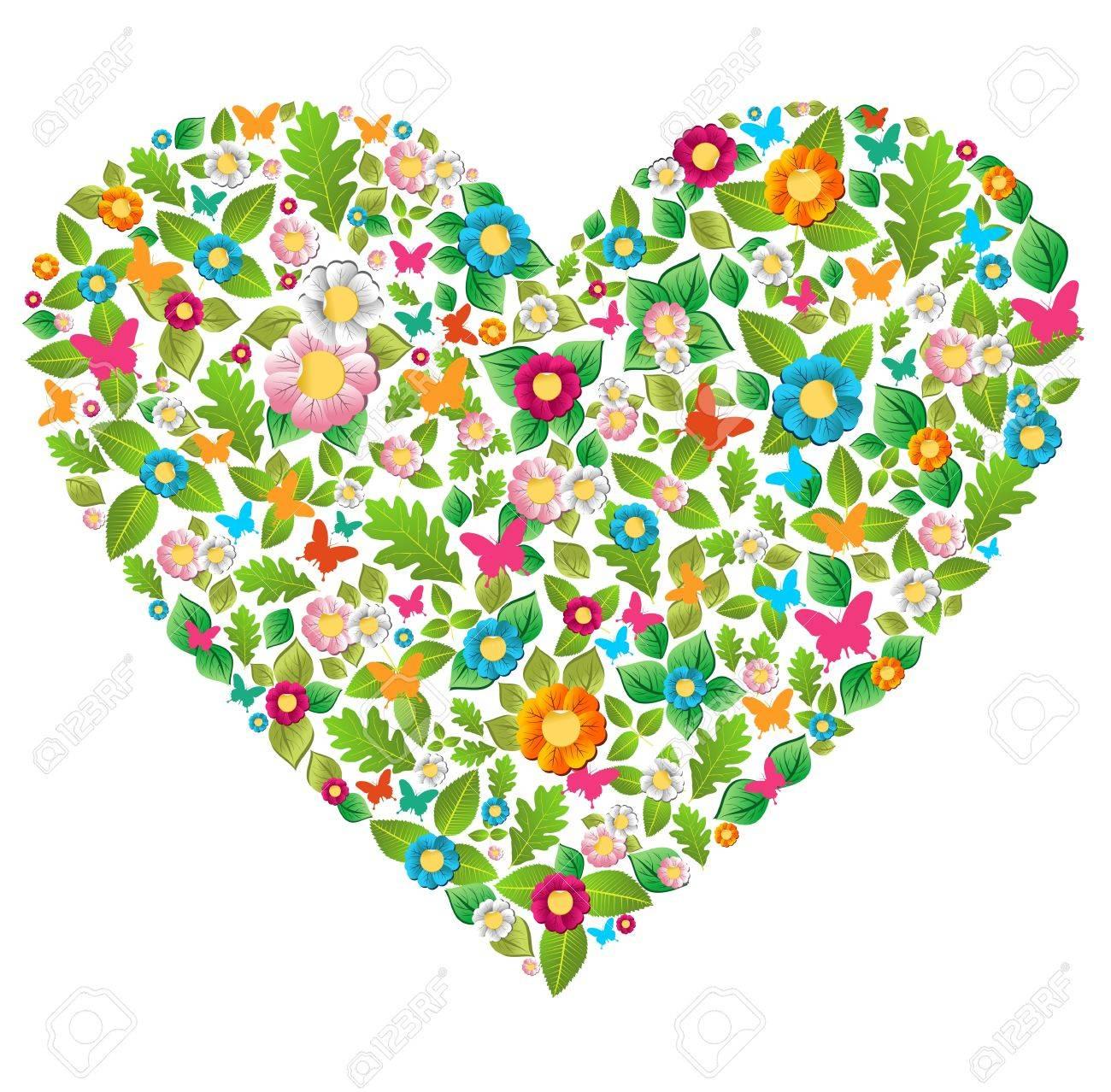 Leaf Flower And Butterfly In Love Heart Shape