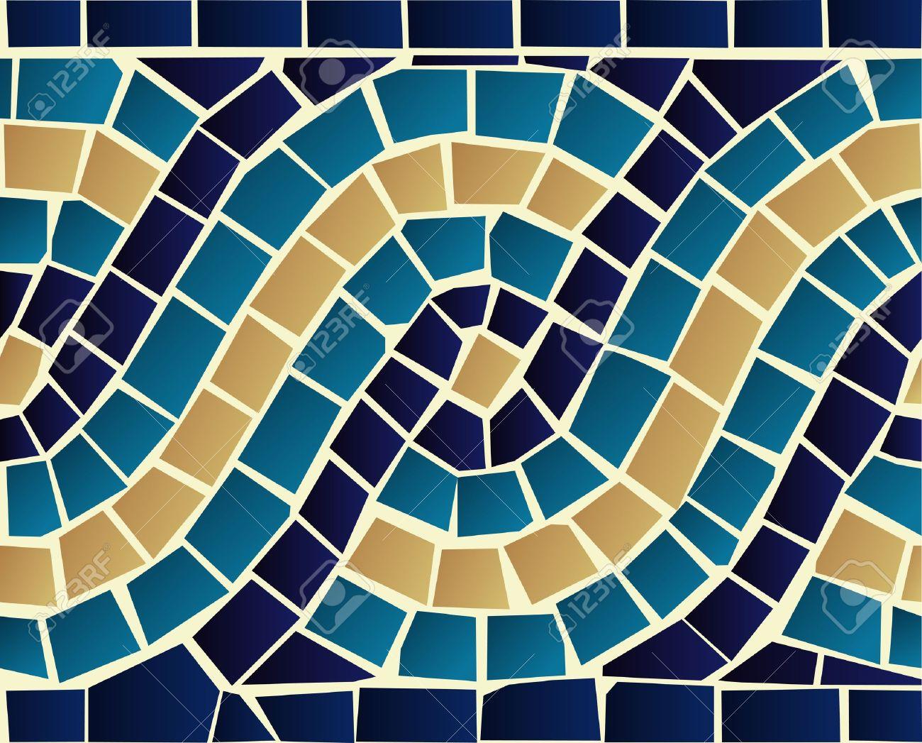 marine stil blaue welle mosaik nahtlose muster hintergrund vektor datei fr eine einfache handhabung - Mosaik Muster