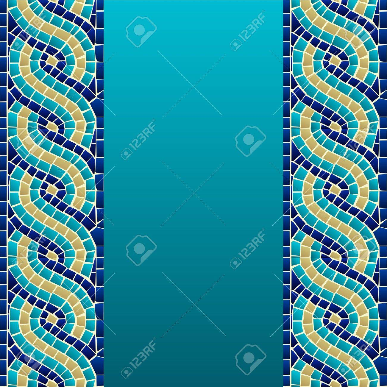 Marine style wave mosaic seamless pattern background  Vector file layered for easy manipulation and custom coloring Stock Vector - 14255876