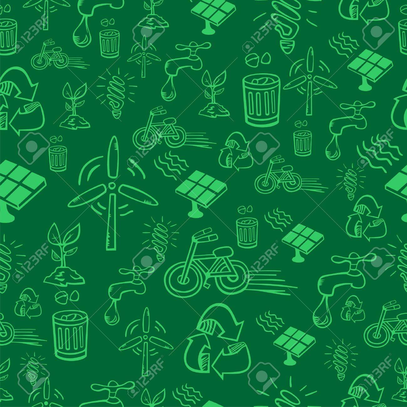 Go green icon set seamless pattern  file layered for easy manipulation and custom coloring Stock Vector - 14574517