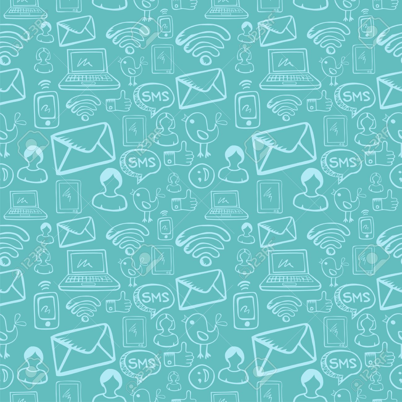 Social media cartoon icons seamless pattern over sky blue background file layered for easy manipulation and custom coloring Stock Vector - 14574523