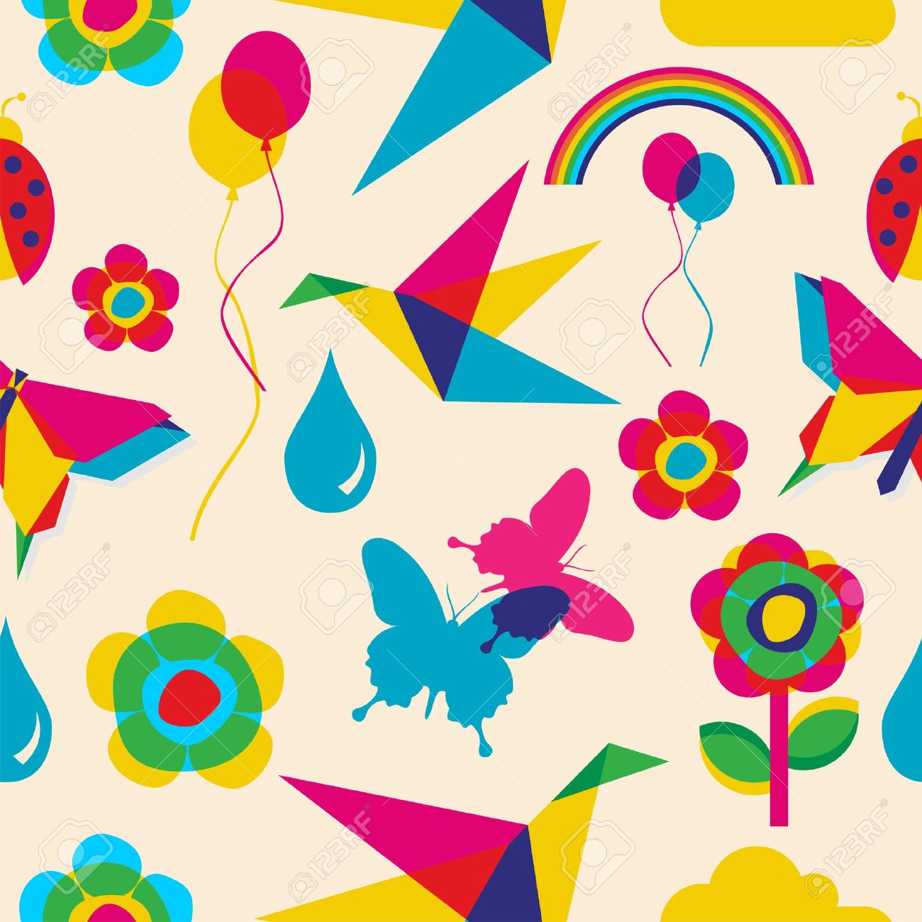 Colorfull spring summer origami seamless pattern file layered for easy manipulation and custom coloring Stock Vector - 14574477