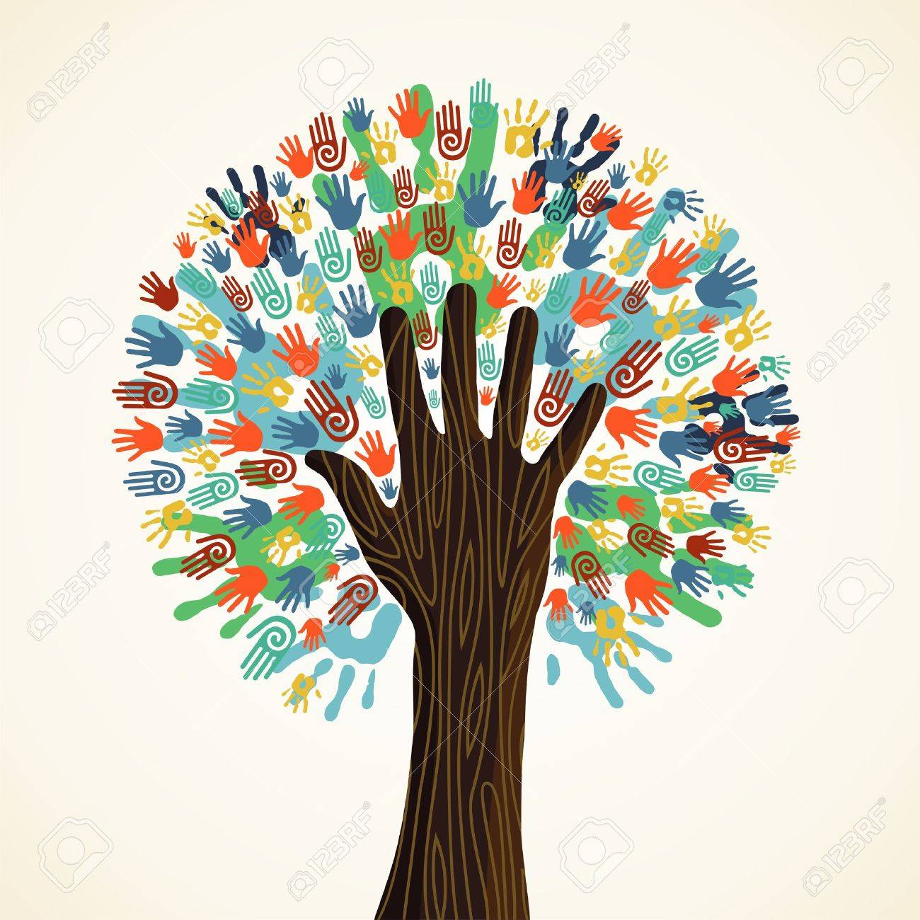 Isolated diversity tree hands illustration. Vector file layered for easy manipulation and custom coloring. - 14777574