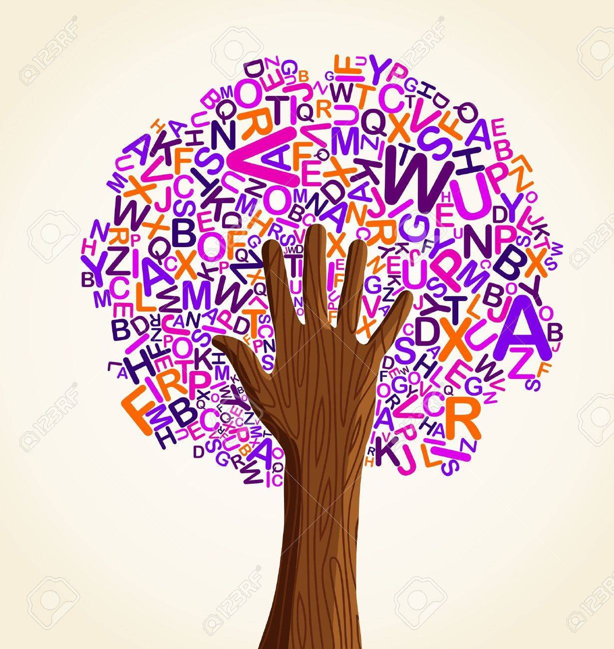 Learn to read at school education concept tree hand. Vector file layered for easy manipulation and custom coloring. Stock Vector - 14777579