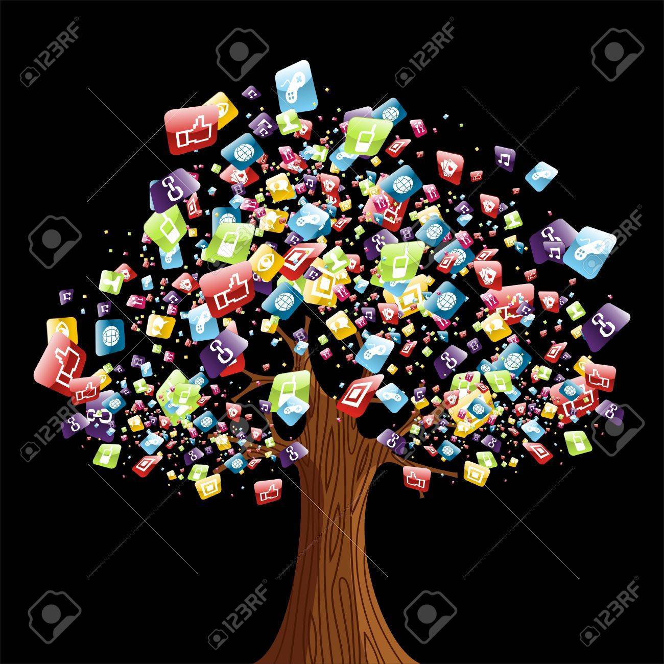 Smart phone application icons tree. Vector illustration layered for easy manipulation and customisation. Stock Vector - 14777597