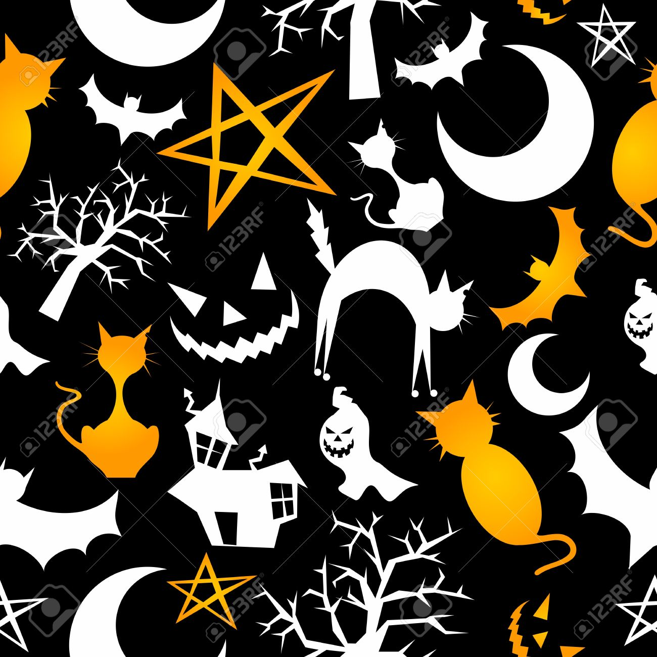 Funny halloween characters seamless pattern background. Vector illustration layered for easy manipulation and custom coloring. Stock Vector - 14777608
