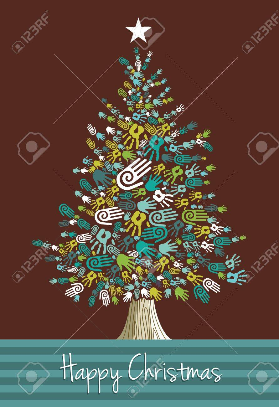 Felicitacion Navidad Personalizada Fotos.Diversidad Manos Del Arbol De Navidad Tarjeta De Felicitacion Ilustracion Vectorial En Capas Para Una Facil Manipulacion Y Coloracion Personalizada