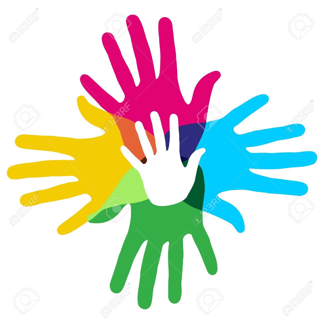 Multicolor Diversidad Creativa Símbolo De Las Manos Ilustración ...