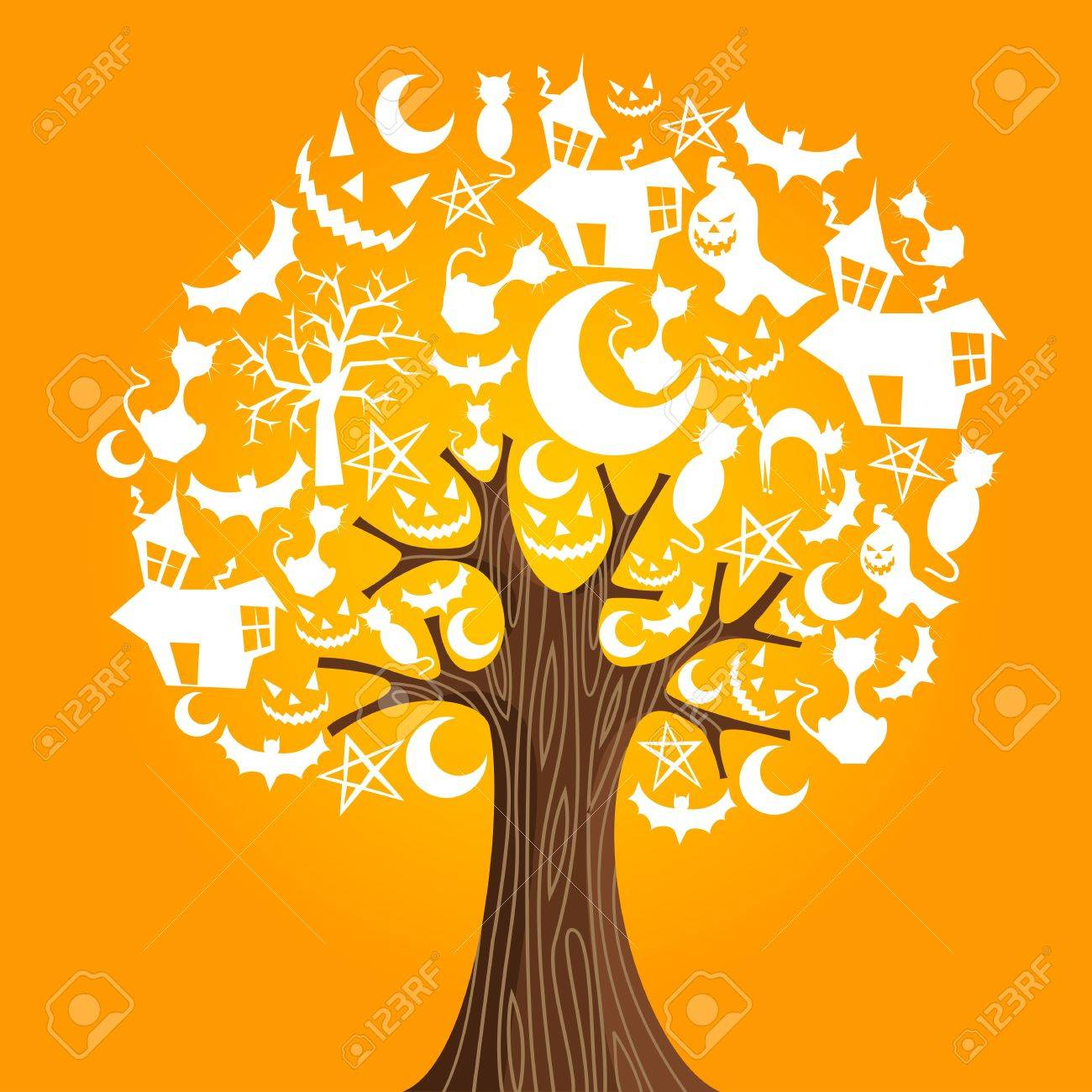 Halloween tree icons background  Vector illustration layered for easy manipulation and custom coloring Stock Vector - 14777610