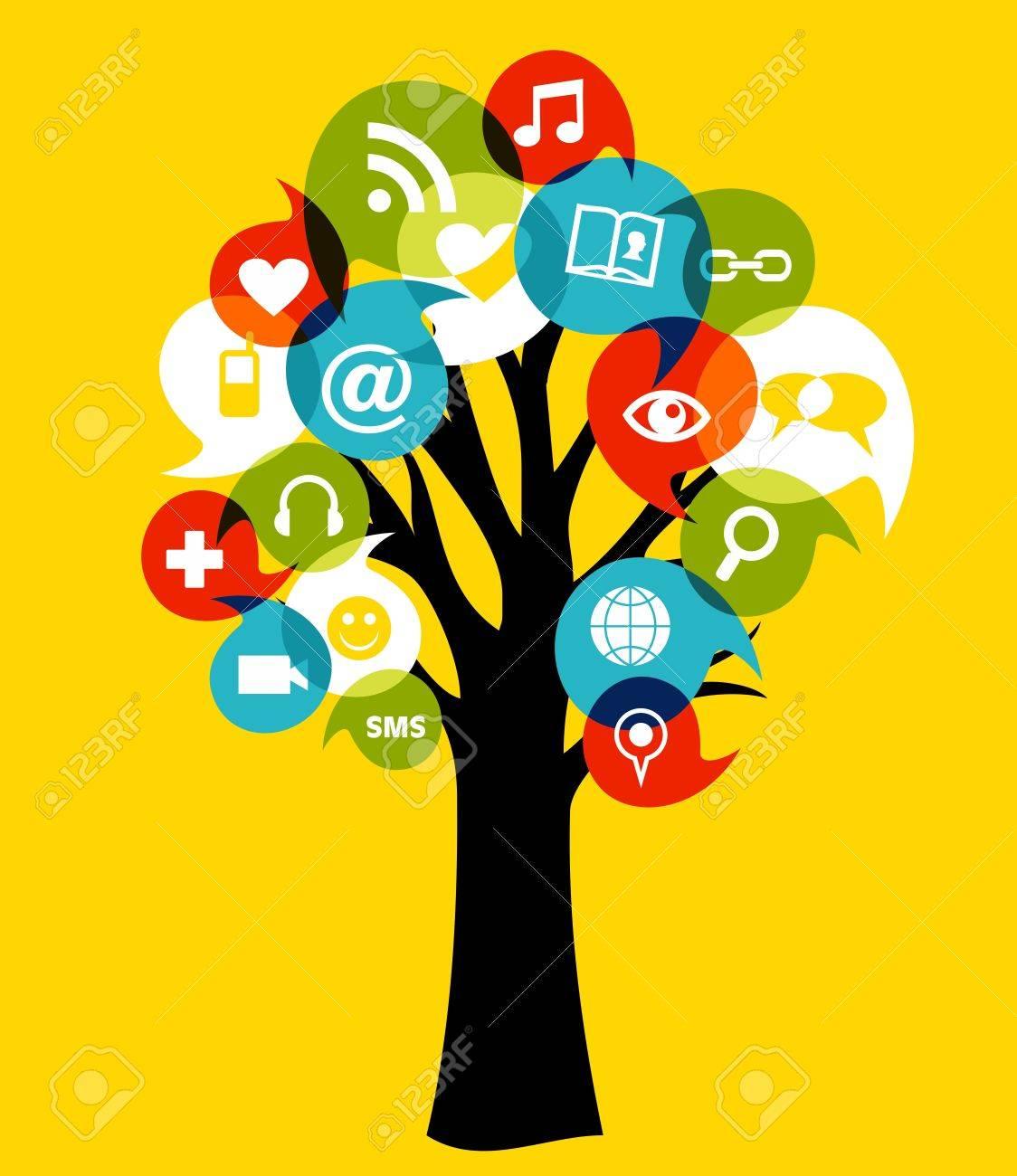 Rbol De La Red Social Con Los Medios De Comunicación Iconos ...