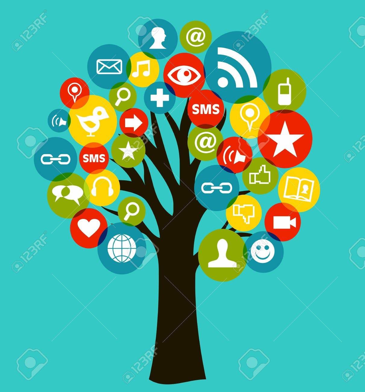Social network tree business icons leaf  Vector illustration layered for easy manipulation and custom coloring Stock Vector - 14777611