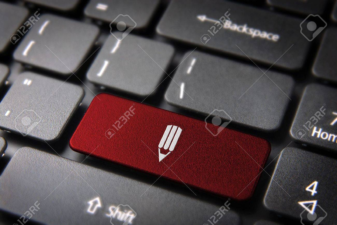Red school design key with pencil on laptop keyboard  Included , so you can easily edit it Stock Photo - 15149109