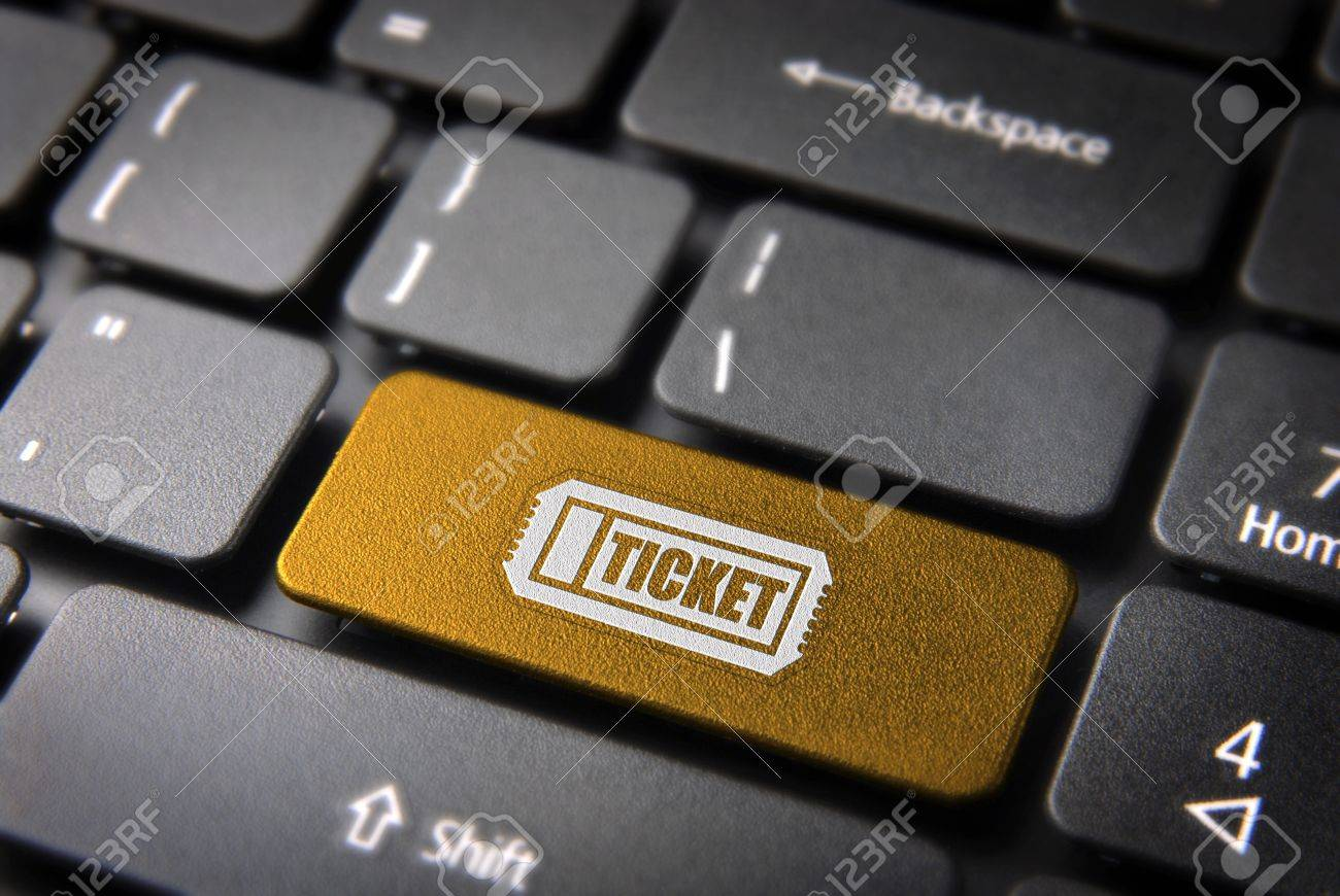 Buy entrance online key with ticket icon on laptop keyboard  Included , so you can easily edit it Stock Photo - 15149132