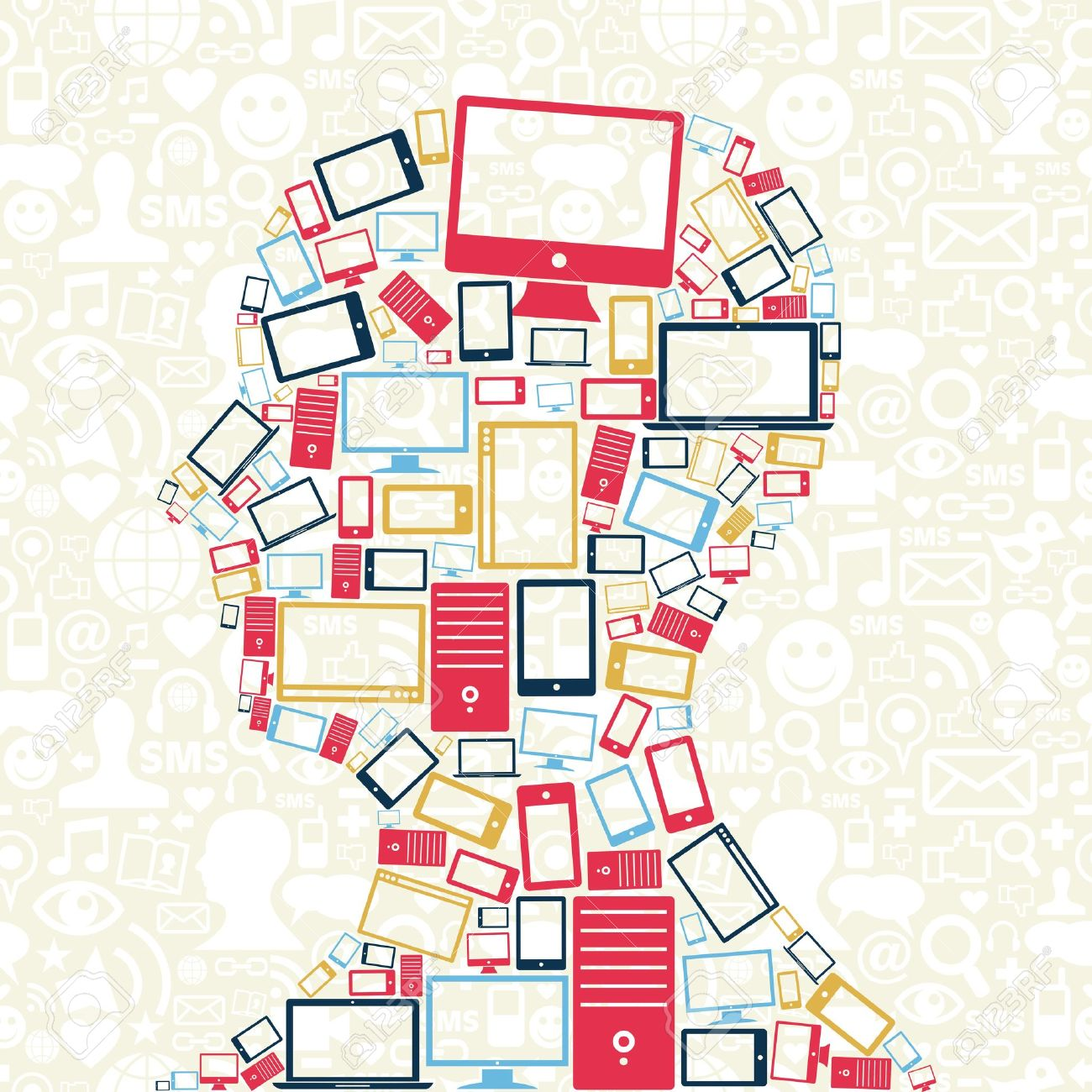 Computer, mobile phone and tablet colors icons in man head with social media pattern background Stock Vector - 15327261