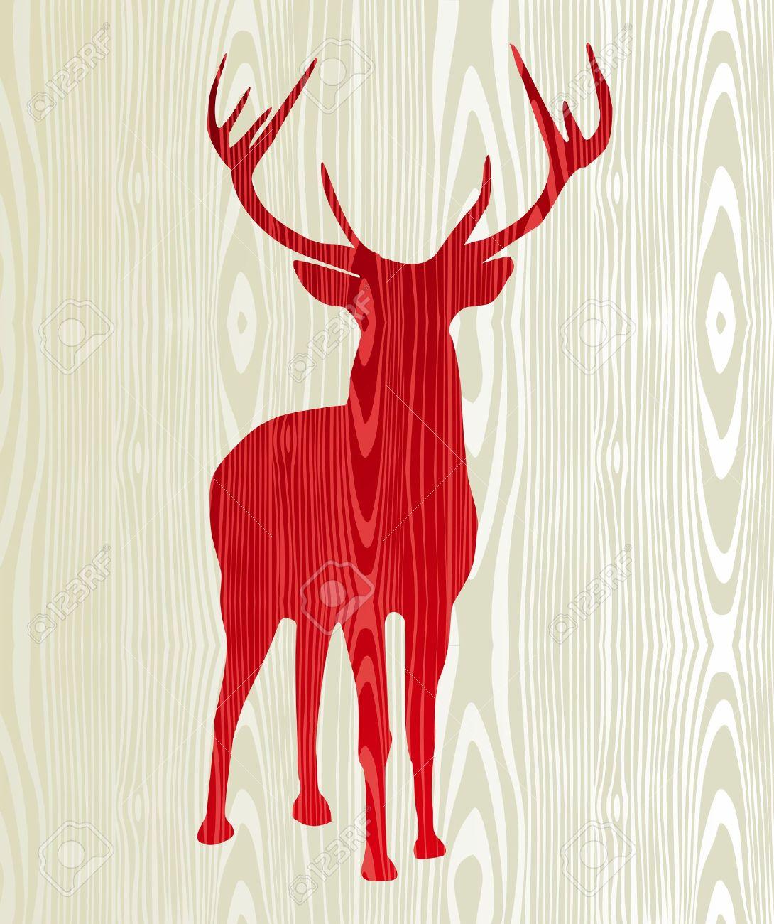 Christmas Wood Reindeer Silhouette Postcard Background Royalty ...