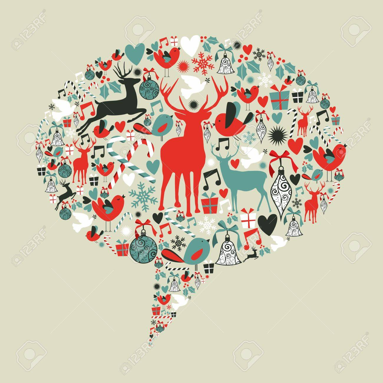 Christmas icons set in social media networks speech bubble.  illustration layered for easy manipulation and custom coloring. Stock Vector - 16105607