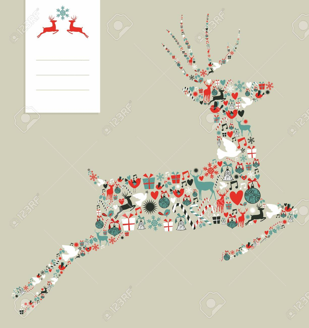 Christmas icons set in jumping deer greeting card background.  illustration layered for easy manipulation and custom coloring. Stock Vector - 16105712