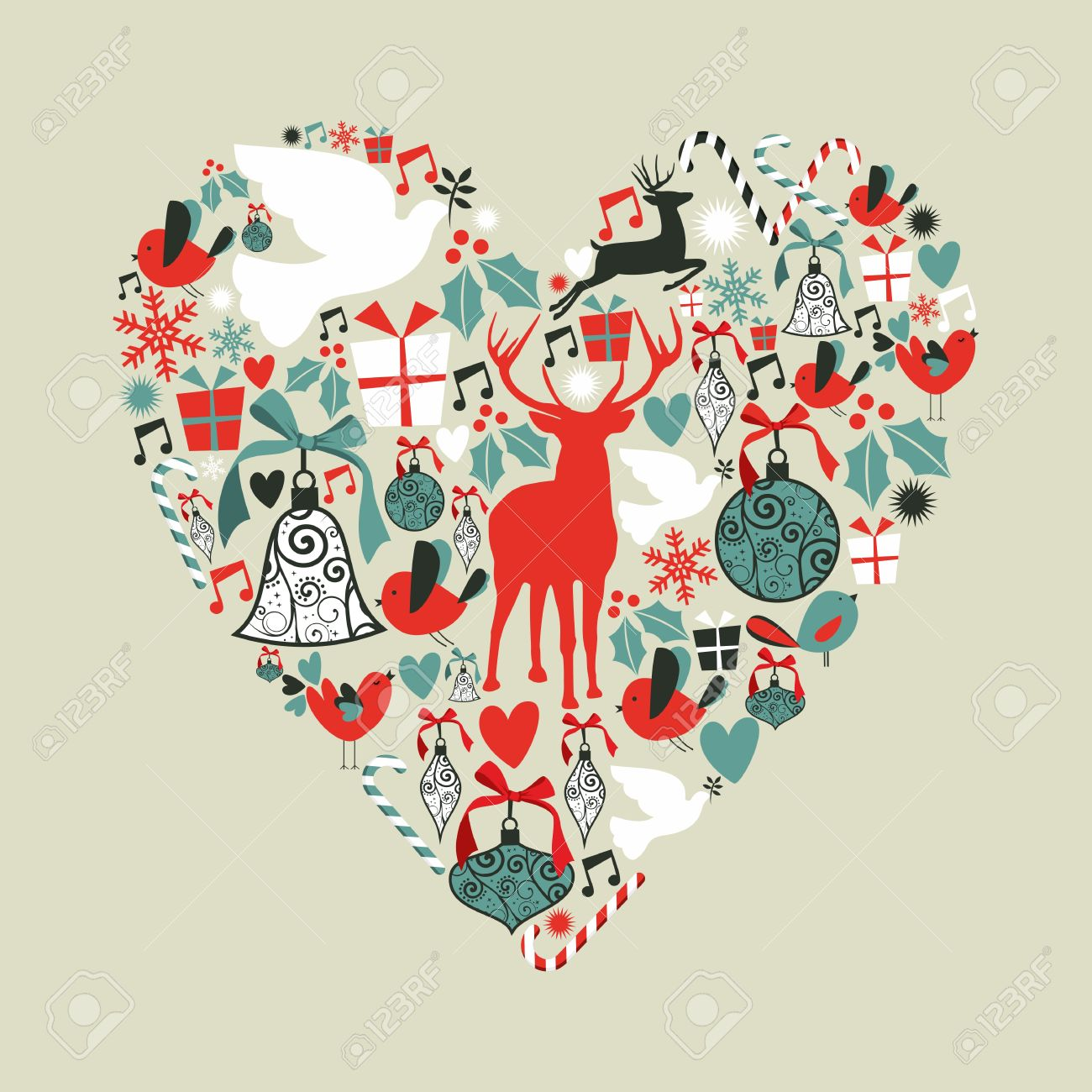Christmas icons set in love heart shape greeting card background christmas icons set in love heart shape greeting card background illustration layered for easy manipulation kristyandbryce Choice Image