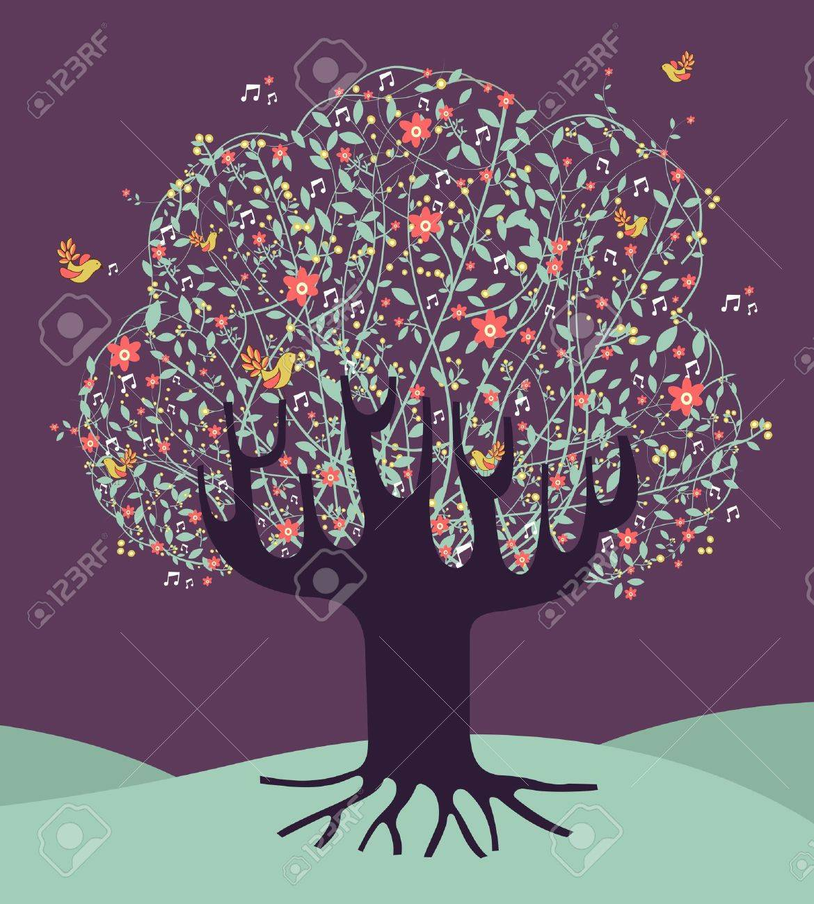 Musical spring time tree composition with flowers file layered for easy manipulation and custom coloring. Stock Vector - 16105565