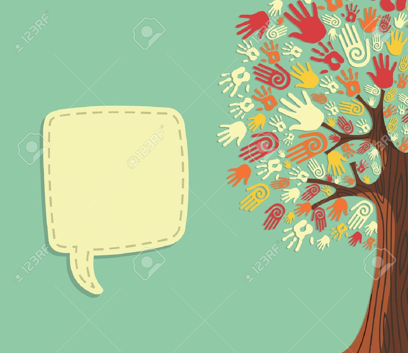 Diversity Tree Hands Illustration With Blank For Text Greeting – Online Greeting Card Template