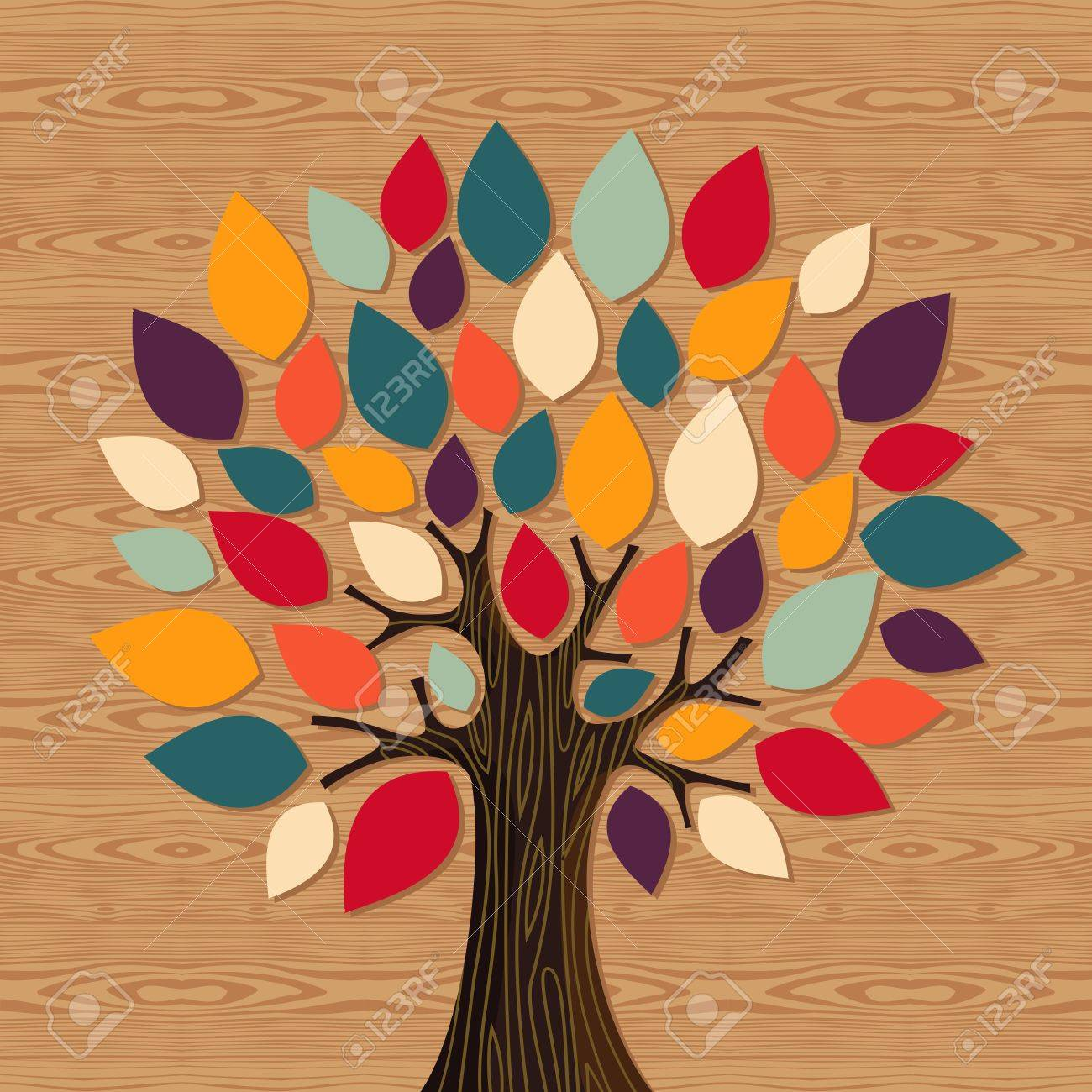 Diversity concept tree illustration. file layered for easy manipulation and custom coloring. - 16105380