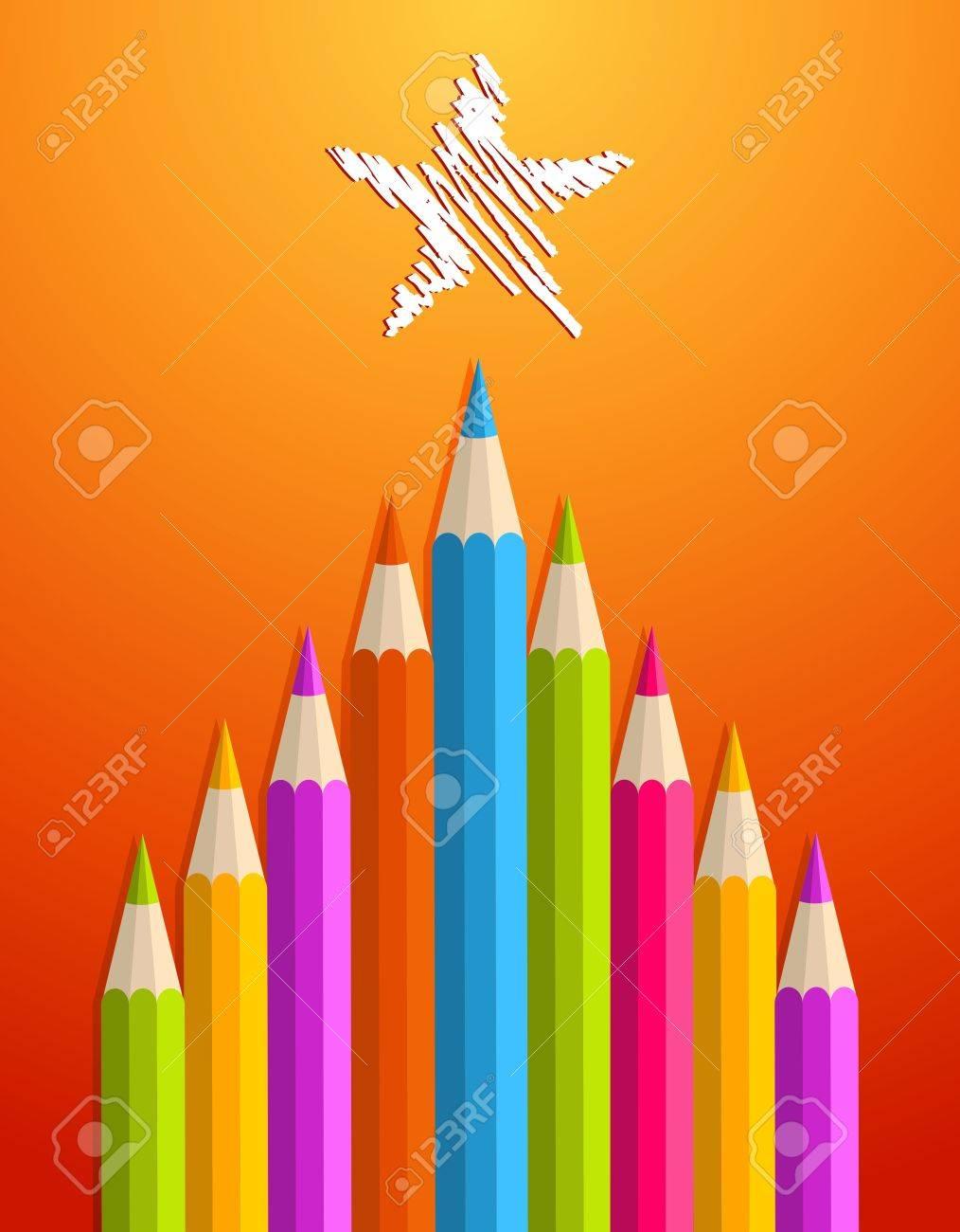 Multi Lápices De Colores En Navidad Arte Ilustración Pino Tarjeta De ...