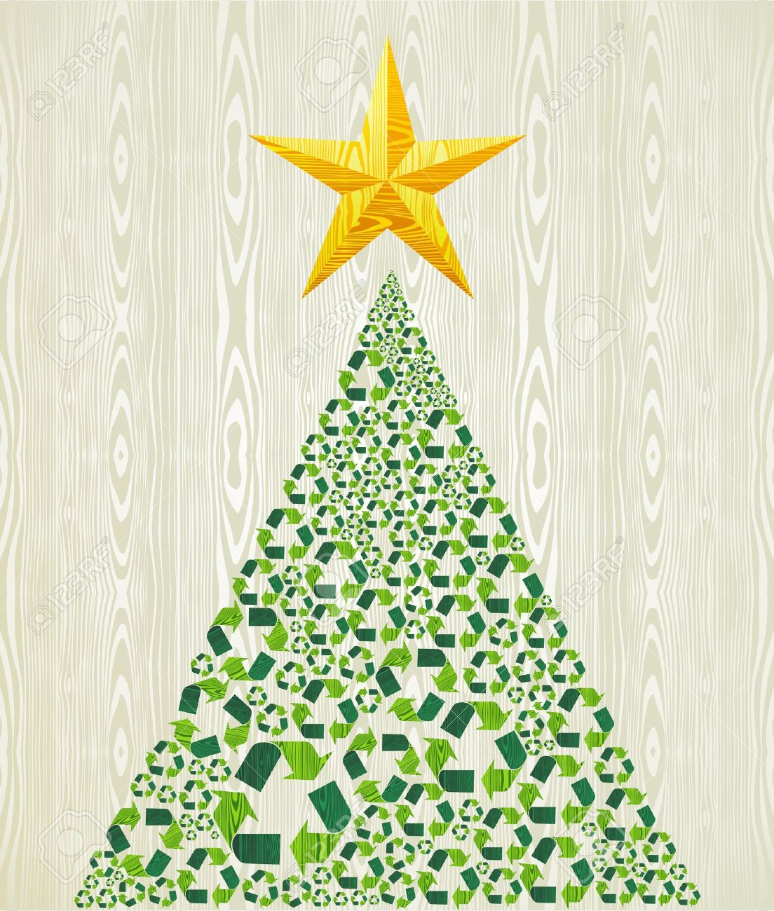 Christmas Recycle Pine Tree Over Wooden Seamless Pattern Background ...