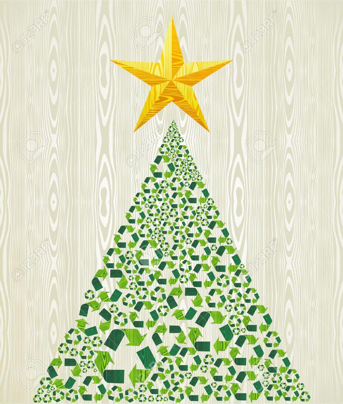 Navidad árbol De Pino Sobre Reciclaje De Madera Ilustración De Fondo ...