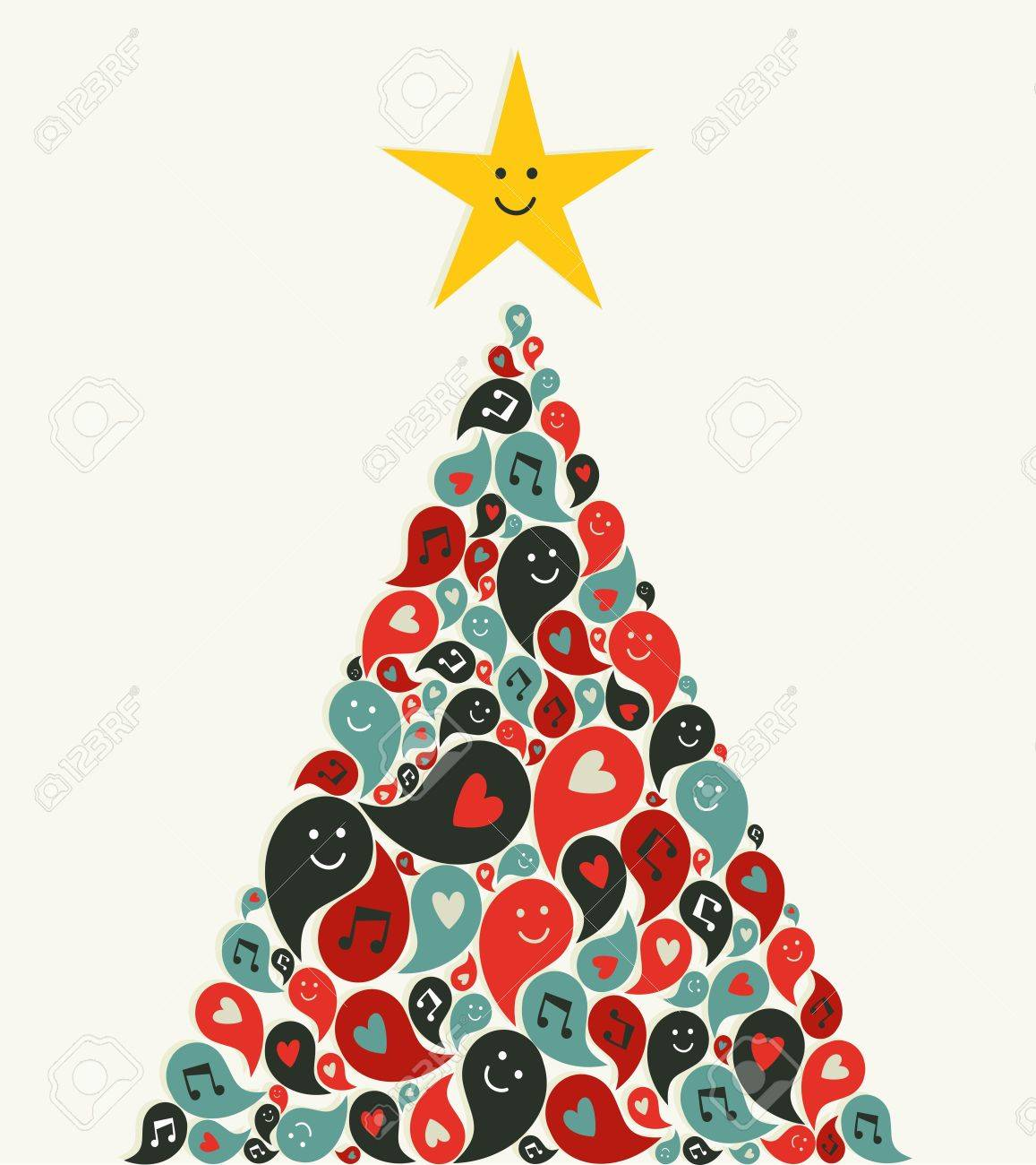 Social Speech Bubbles With Multimedia Icons In Christmas Pine ...
