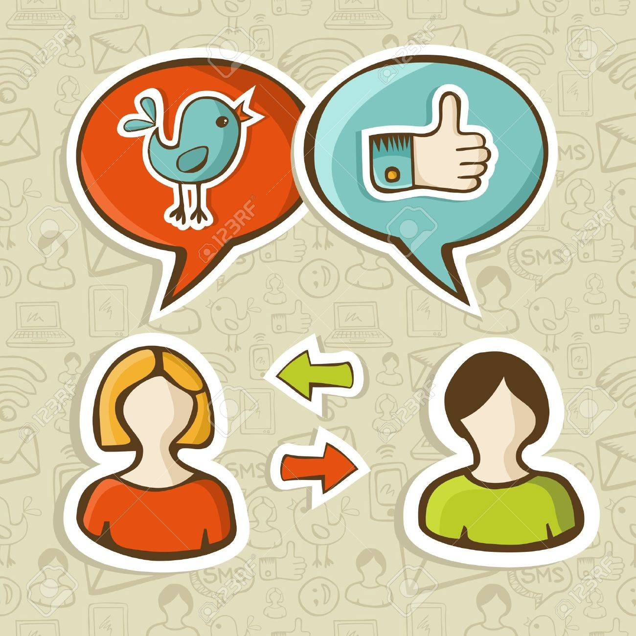 Social media networks twitter and facebook like icons in speech bubble connecting people  Vector illustration layered for easy manipulation and custom coloring Stock Vector - 16307600