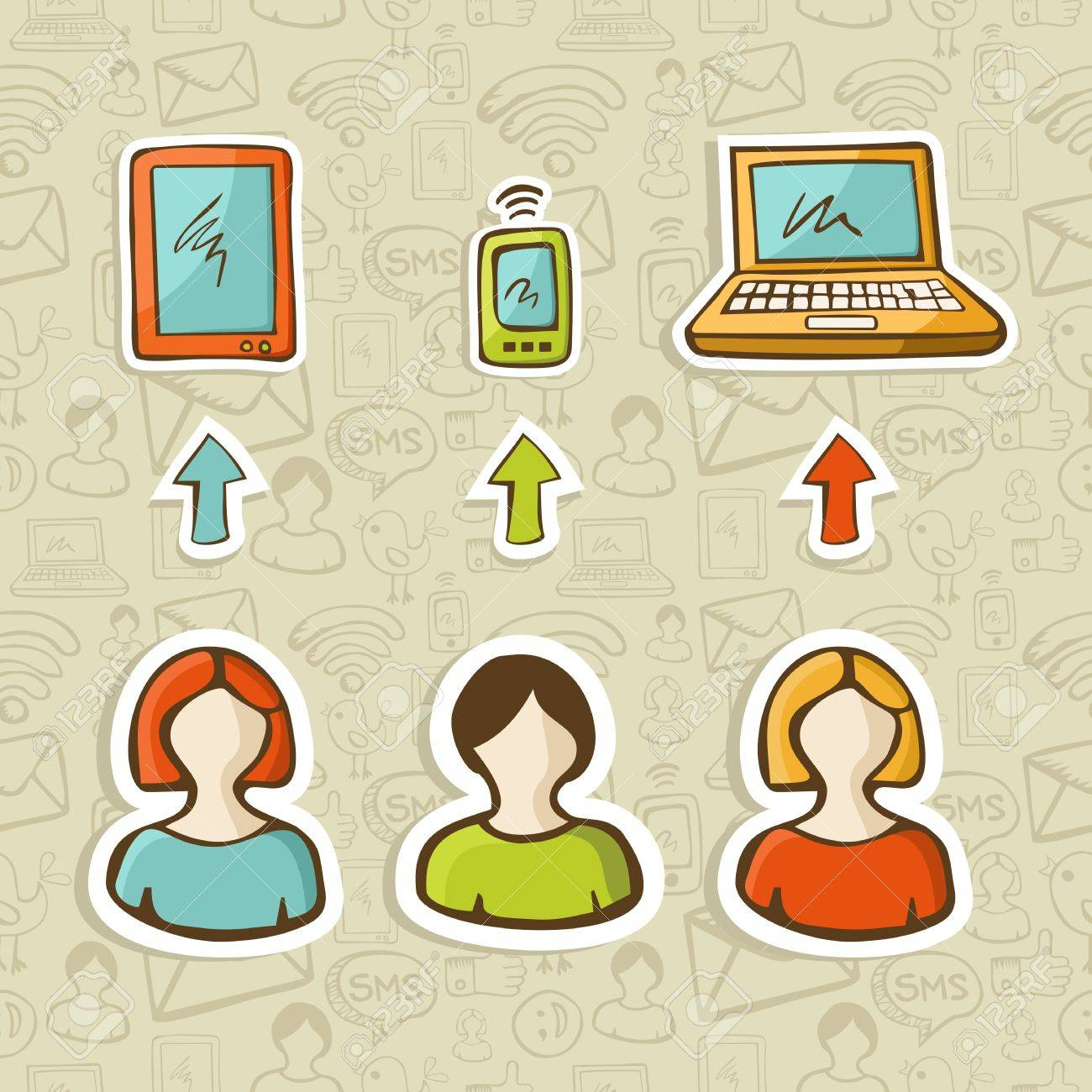 Computer, tablet and mobile devices connect social network people over sketch icons pattern   Vector illustration layered for easy manipulation and custom coloring Stock Vector - 16307601
