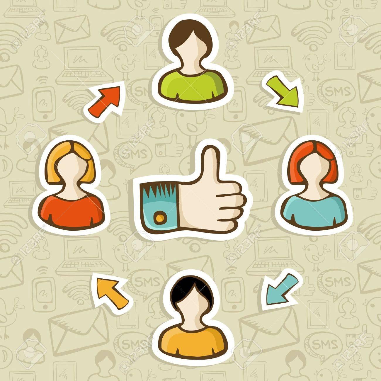 Pulgar Para Arriba Diagrama Amistad Medios De Comunicación Social ...