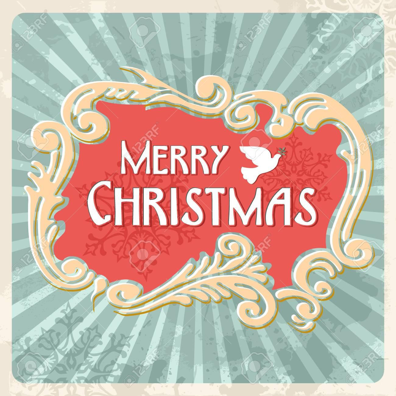 Happy christmas retro sign illustration. Stock Vector - 16463922